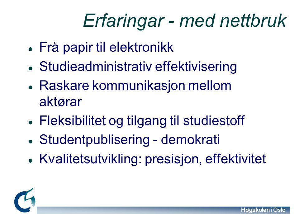 Høgskolen i Oslo Erfaringar - med nettbruk Frå papir til elektronikk Studieadministrativ effektivisering Raskare kommunikasjon mellom aktørar Fleksibi