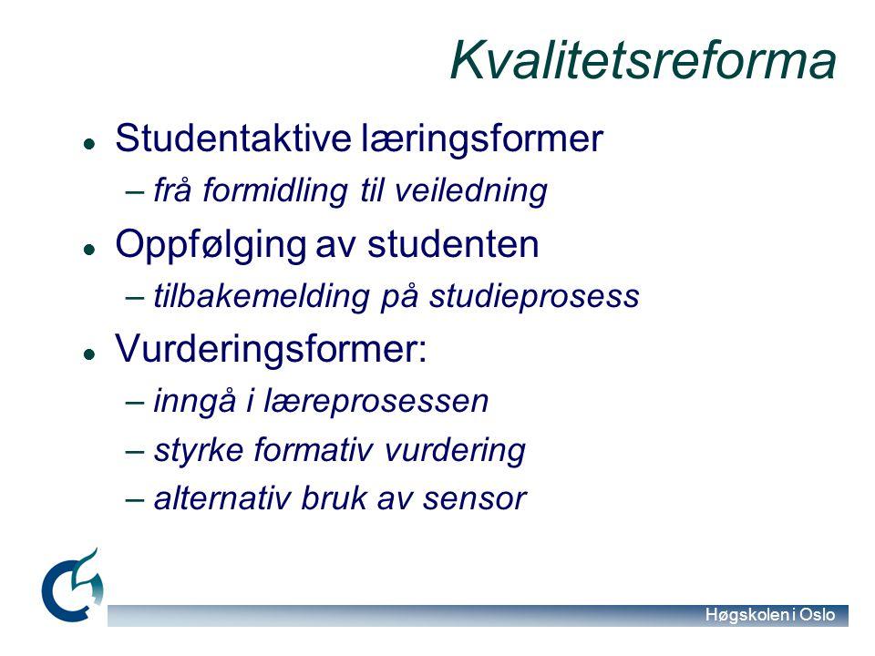 Høgskolen i Oslo Kvalitetsreforma Studentaktive læringsformer –frå formidling til veiledning Oppfølging av studenten –tilbakemelding på studieprosess