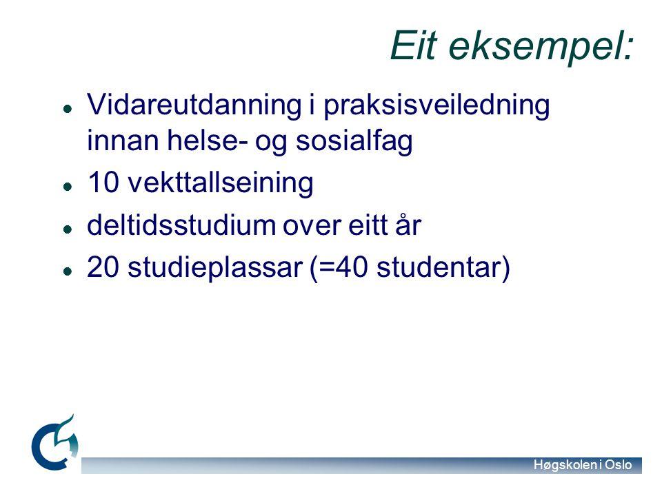 Høgskolen i Oslo Eit eksempel: Vidareutdanning i praksisveiledning innan helse- og sosialfag 10 vekttallseining deltidsstudium over eitt år 20 studiep