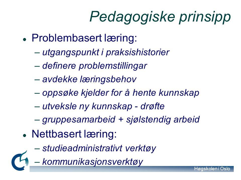 Høgskolen i Oslo Pedagogiske prinsipp Problembasert læring: –utgangspunkt i praksishistorier –definere problemstillingar –avdekke læringsbehov –oppsøk