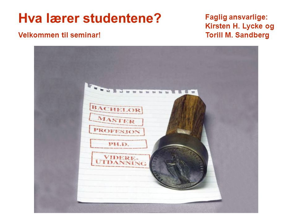 Hva lærer studentene. Velkommen til seminar. Faglig ansvarlige: Kirsten H.