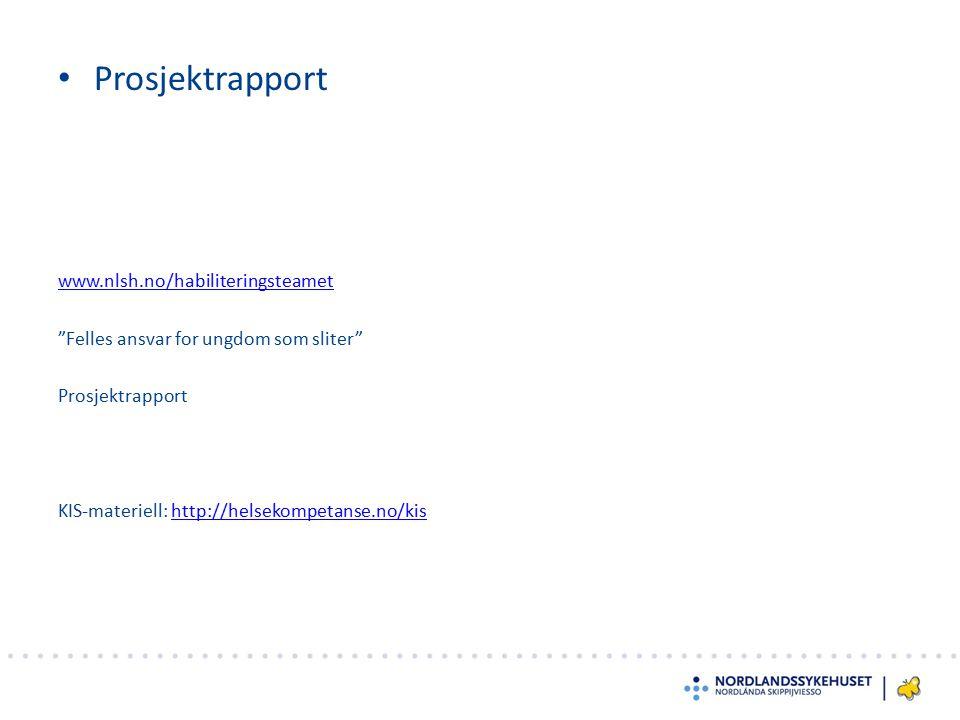 """Prosjektrapport www.nlsh.no/habiliteringsteamet """"Felles ansvar for ungdom som sliter"""" Prosjektrapport KIS-materiell: http://helsekompetanse.no/kishttp"""