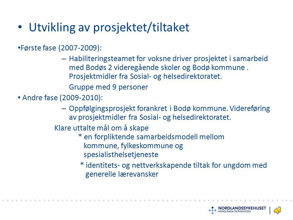Utvikling av prosjektet/tiltaket Første fase (2007-2009): – Habiliteringsteamet for voksne driver prosjektet i samarbeid med Bodøs 2 videregående skol