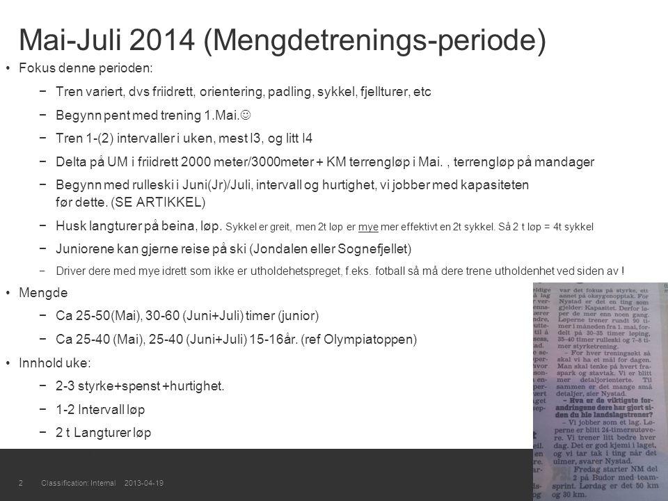 Mai-Juli 2014 (Mengdetrenings-periode) Fokus denne perioden: −Tren variert, dvs friidrett, orientering, padling, sykkel, fjellturer, etc −Begynn pent