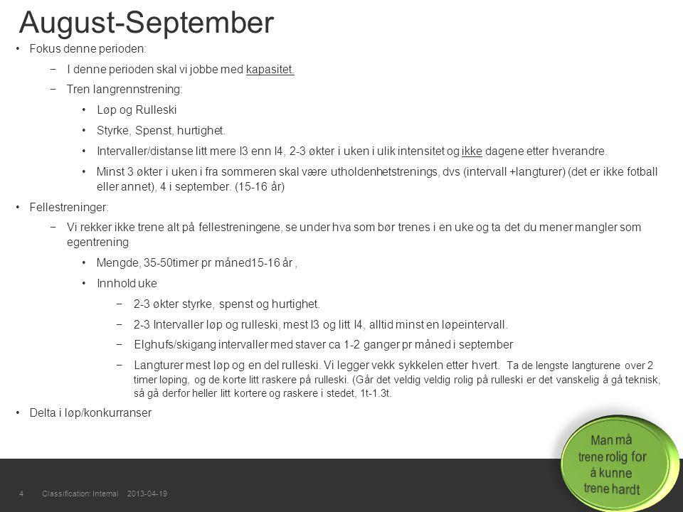 4 August-September Fokus denne perioden: −I denne perioden skal vi jobbe med kapasitet. −Tren langrennstrening: Løp og Rulleski Styrke, Spenst, hurtig
