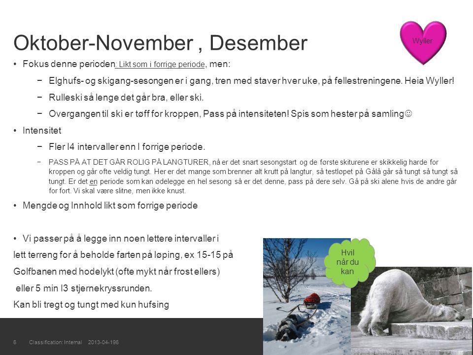 Oktober-November, Desember Fokus denne perioden : Likt som i forrige periode, men: −Elghufs- og skigang-sesongen er i gang, tren med staver hver uke,