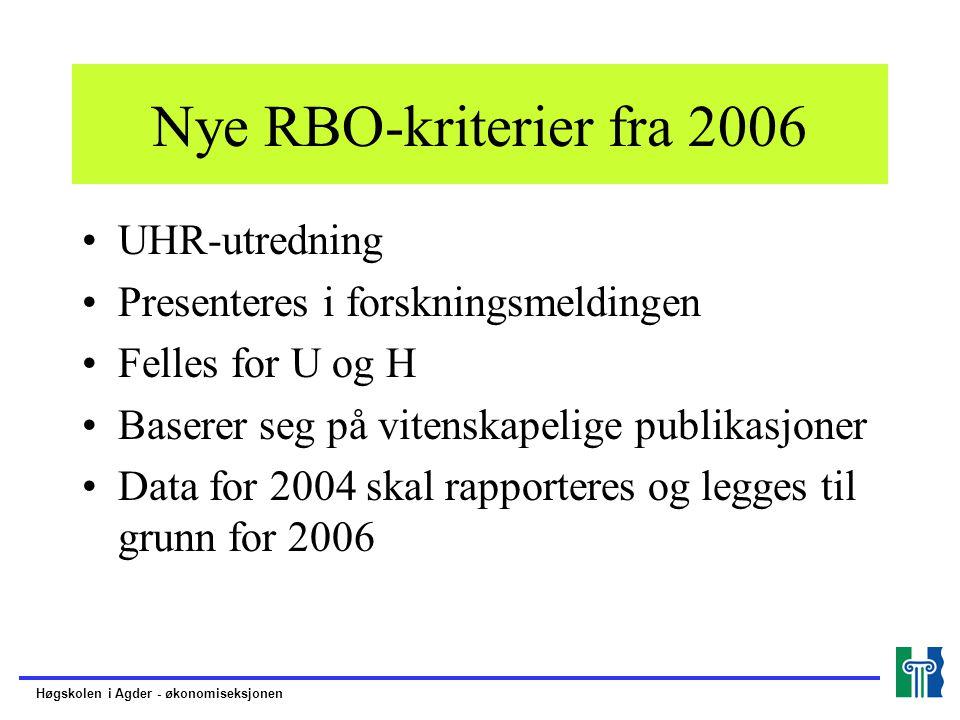 Nye RBO-kriterier fra 2006 UHR-utredning Presenteres i forskningsmeldingen Felles for U og H Baserer seg på vitenskapelige publikasjoner Data for 2004 skal rapporteres og legges til grunn for 2006 Høgskolen i Agder - økonomiseksjonen
