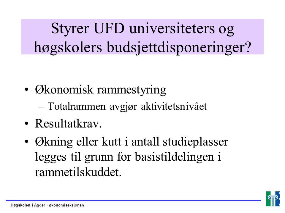 Styrer UFD universiteters og høgskolers budsjettdisponeringer.