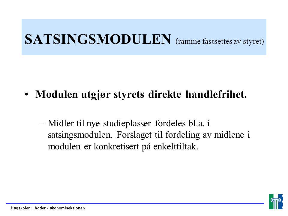SATSINGSMODULEN (ramme fastsettes av styret) Modulen utgjør styrets direkte handlefrihet.