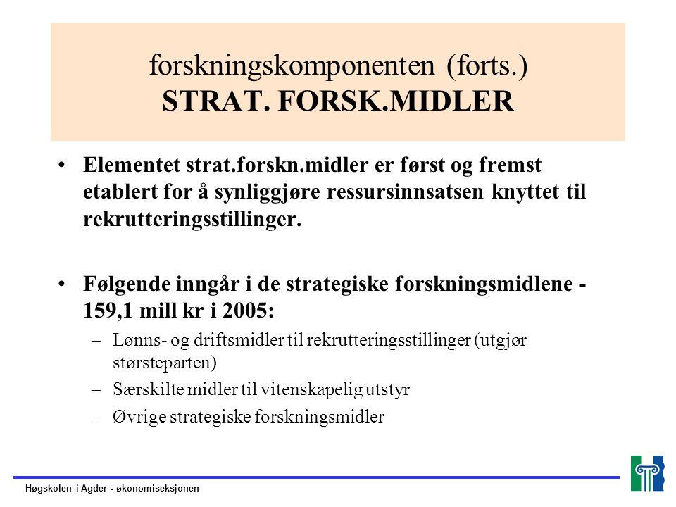 forskningskomponenten (forts.) STRAT.