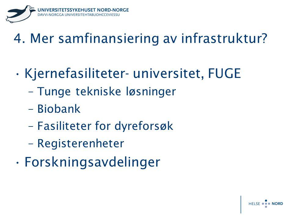4. Mer samfinansiering av infrastruktur? Kjernefasiliteter- universitet, FUGE –Tunge tekniske løsninger –Biobank –Fasiliteter for dyreforsøk –Register
