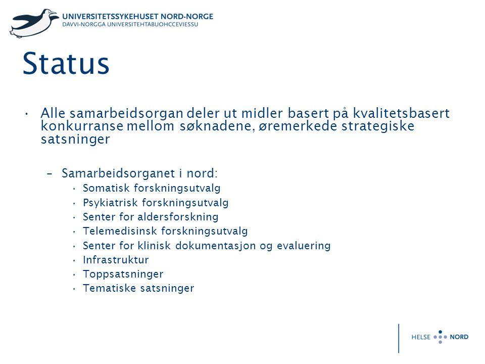 Status Alle samarbeidsorgan deler ut midler basert på kvalitetsbasert konkurranse mellom søknadene, øremerkede strategiske satsninger –Samarbeidsorgan