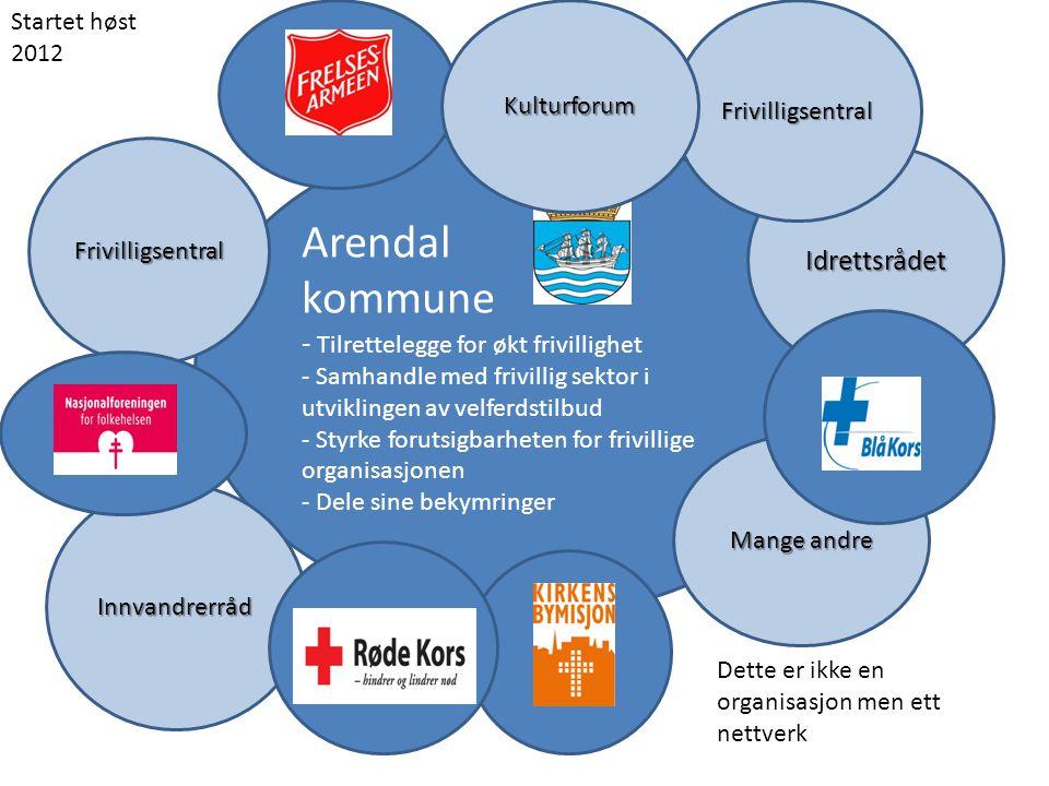 Arendal kommune - Tilrettelegge for økt frivillighet - Samhandle med frivillig sektor i utviklingen av velferdstilbud - Styrke forutsigbarheten for fr