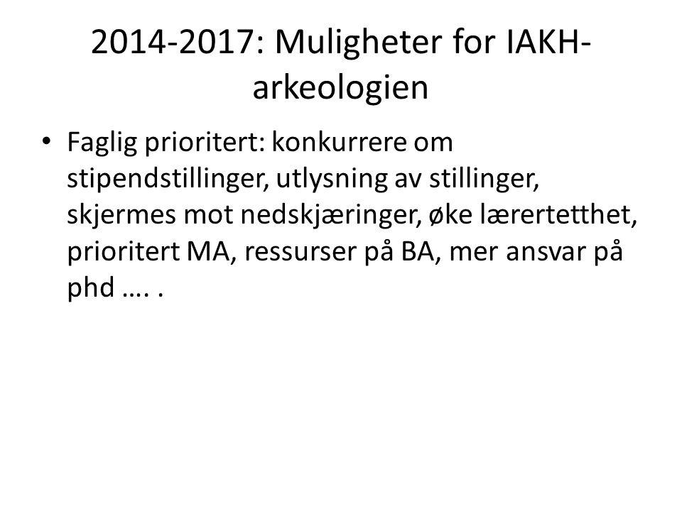 2014-2017: Muligheter for IAKH- arkeologien Faglig prioritert: konkurrere om stipendstillinger, utlysning av stillinger, skjermes mot nedskjæringer, øke lærertetthet, prioritert MA, ressurser på BA, mer ansvar på phd …..