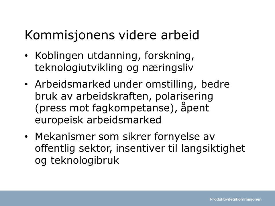 Produktivitetskommisjonen Norsk mal:Tekst med kulepunkter Tips bunntekst: For å få bort sidenummer, dato, samt redigere tittel på presentasjon: Klikk