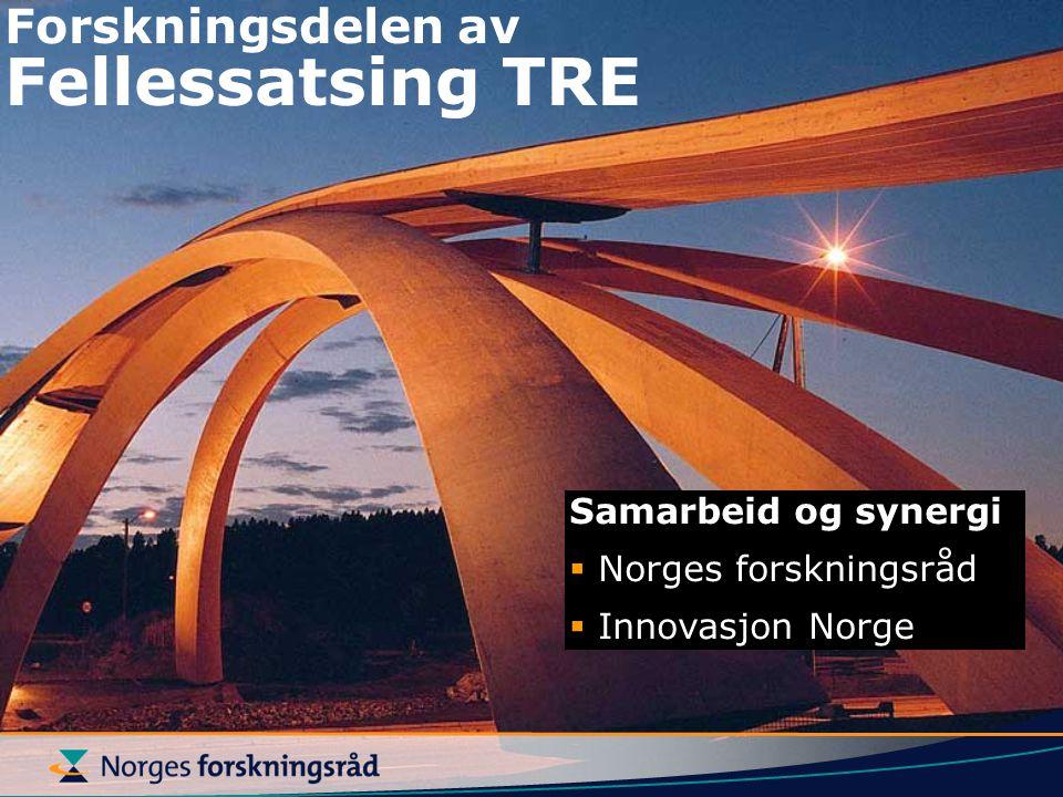 Forskningsdelen av Fellessatsing TRE Samarbeid og synergi  Norges forskningsråd  Innovasjon Norge