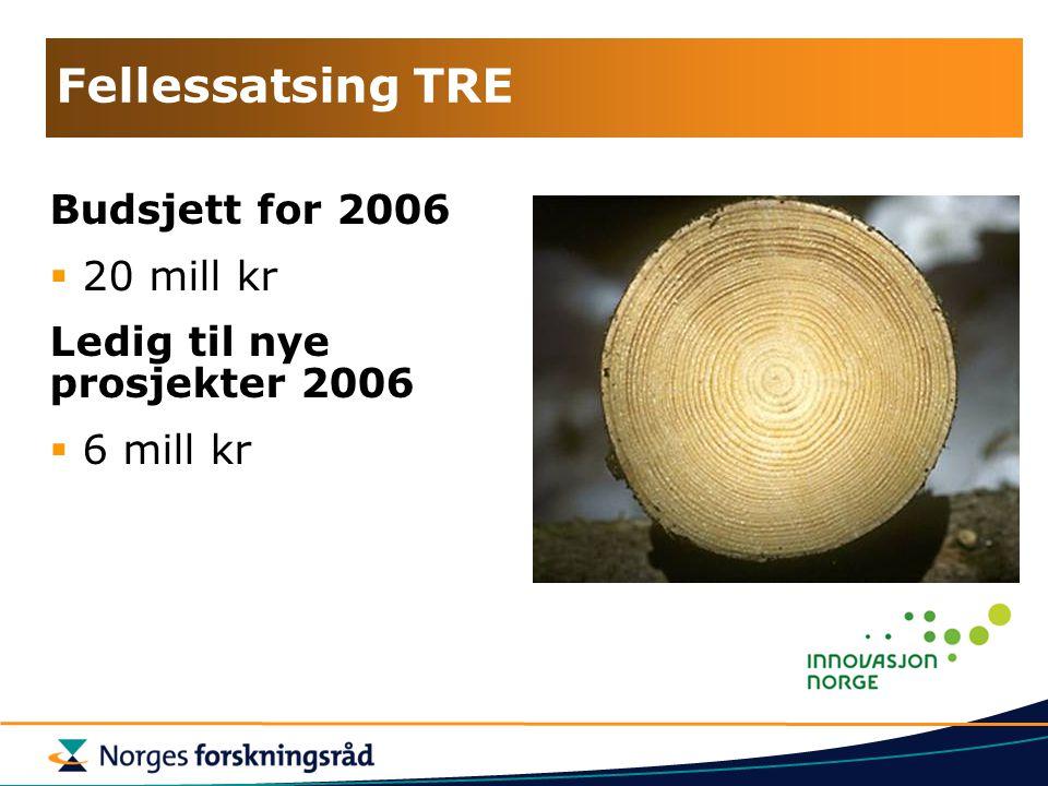 Fellessatsing TRE Budsjett for 2006  20 mill kr Ledig til nye prosjekter 2006  6 mill kr