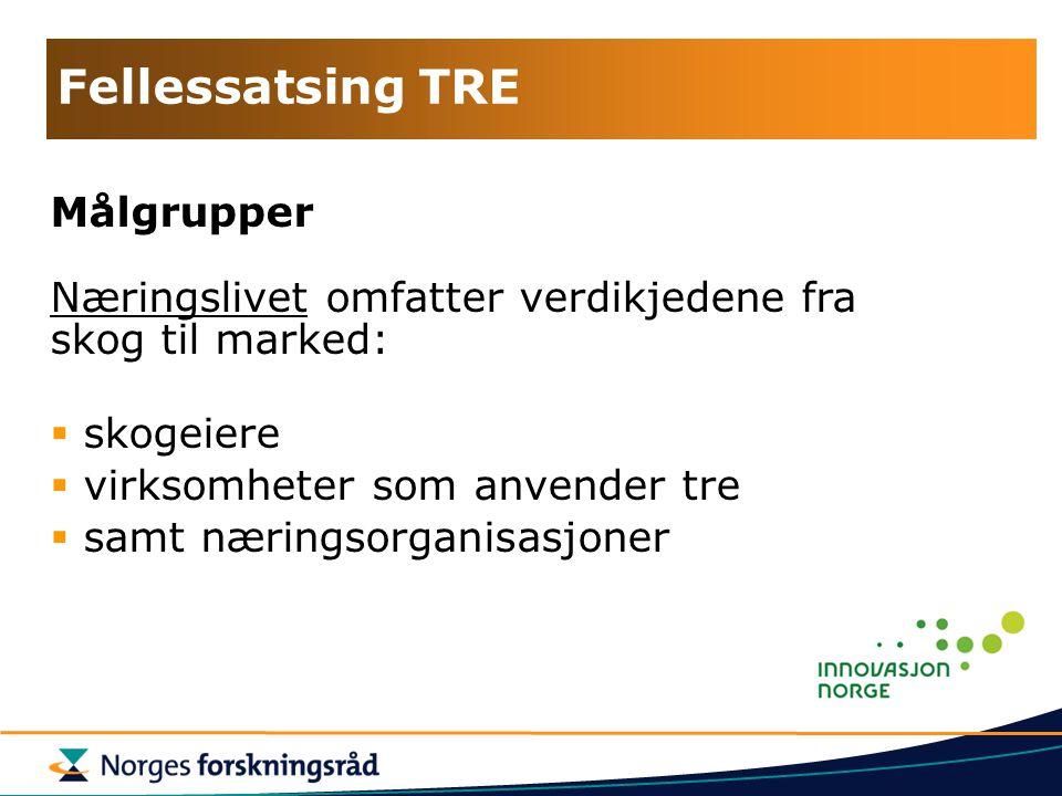 Fellessatsing TRE Målgrupper Næringslivet omfatter verdikjedene fra skog til marked:  skogeiere  virksomheter som anvender tre  samt næringsorganisasjoner
