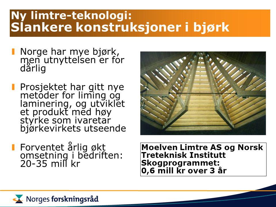 Ny limtre-teknologi: Slankere konstruksjoner i bjørk Norge har mye bjørk, men utnyttelsen er for dårlig Prosjektet har gitt nye metoder for liming og laminering, og utviklet et produkt med høy styrke som ivaretar bjørkevirkets utseende Forventet årlig økt omsetning i bedriften: 20-35 mill kr Moelven Limtre AS og Norsk Treteknisk Institutt Skogprogrammet: 0,6 mill kr over 3 år