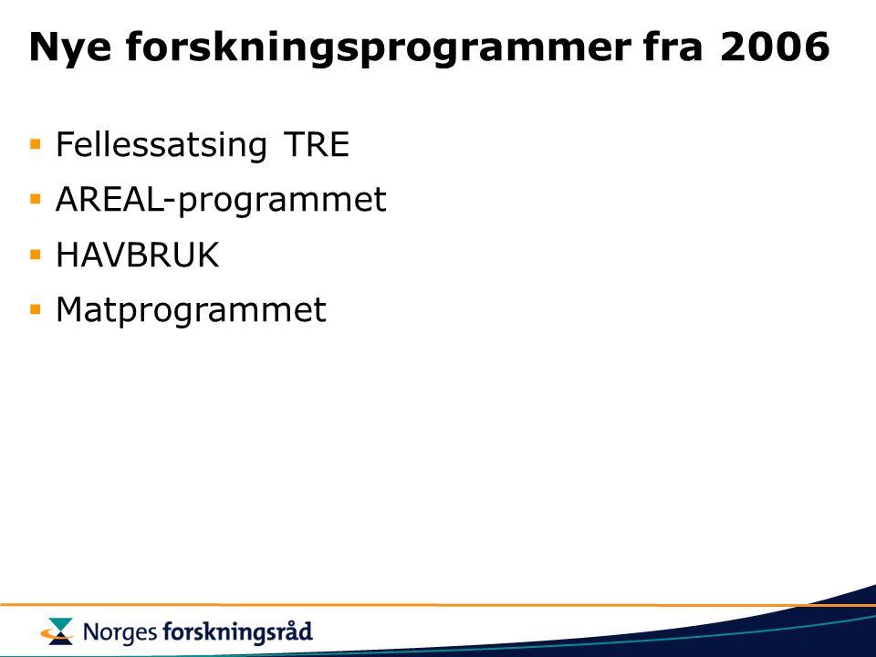 Nye forskningsprogrammer fra 2006  Fellessatsing TRE  AREAL-programmet  HAVBRUK  Matprogrammet