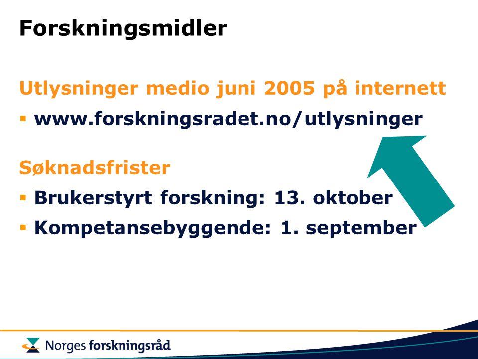 Forskningsmidler Utlysninger medio juni 2005 på internett  www.forskningsradet.no/utlysninger Søknadsfrister  Brukerstyrt forskning: 13.
