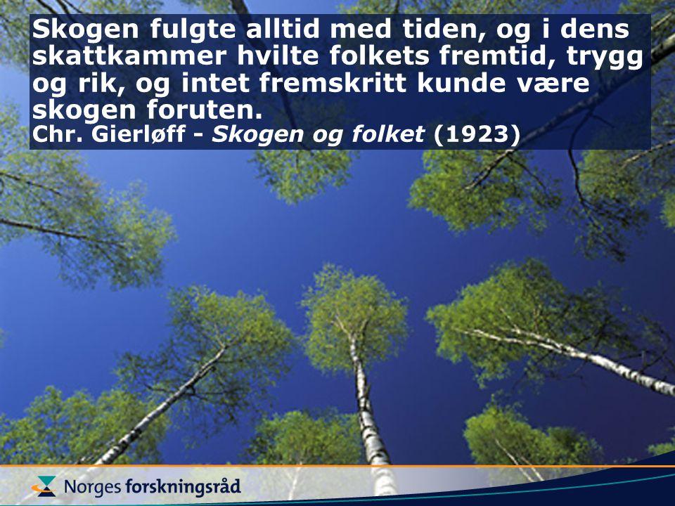 Skogen fulgte alltid med tiden, og i dens skattkammer hvilte folkets fremtid, trygg og rik, og intet fremskritt kunde være skogen foruten.