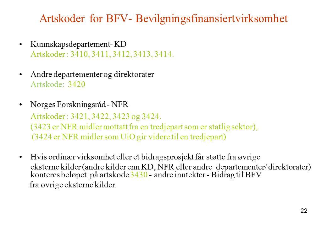 22 Artskoder for BFV- Bevilgningsfinansiertvirksomhet Kunnskapsdepartement- KD Artskoder : 3410, 3411, 3412, 3413, 3414. Andre departementer og direkt