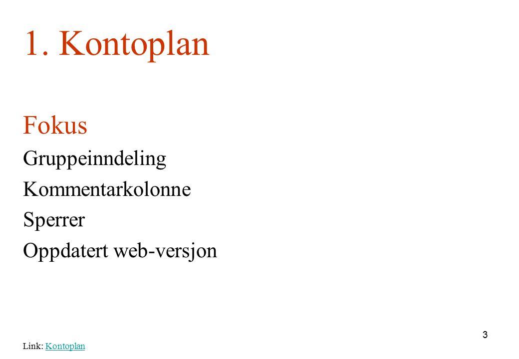 3 1. Kontoplan Fokus Gruppeinndeling Kommentarkolonne Sperrer Oppdatert web-versjon Link: KontoplanKontoplan