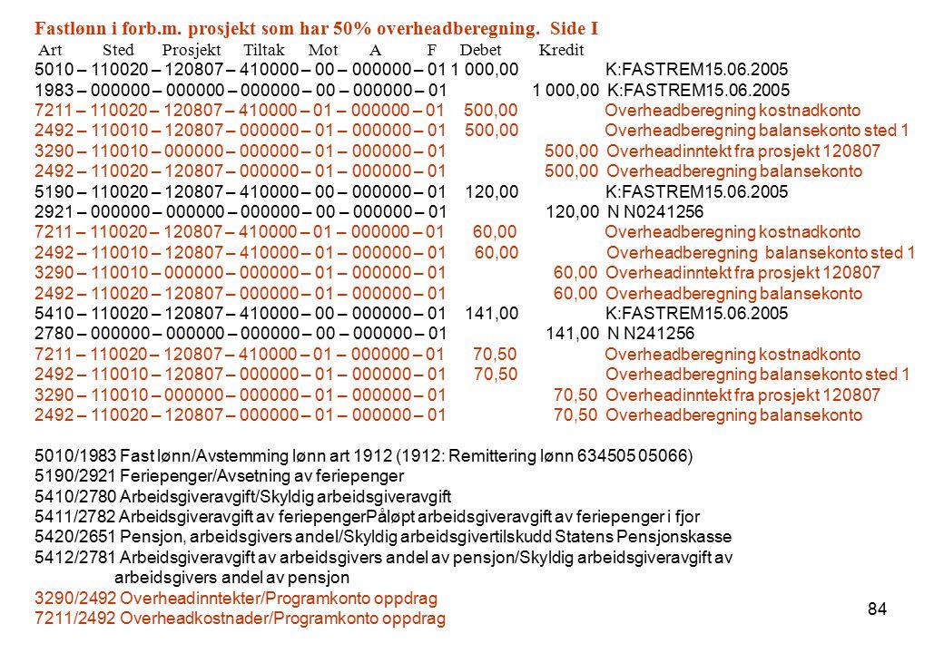 84 Fastlønn i forb.m. prosjekt som har 50% overheadberegning. Side I Art Sted Prosjekt Tiltak Mot A F Debet Kredit 5010 – 110020 – 120807 – 410000 – 0
