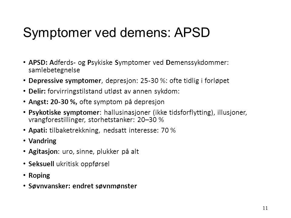 Diagnosekriterier og symptomer ved demens Demensdefinisjon etter ICD-10 1.Svekket hukommelse og minst en av følgende kognitive funksjoner: tenkning, o
