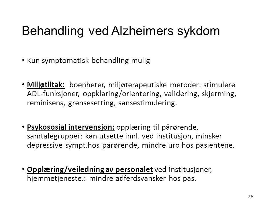 Årsaker og patologi ved Alzheimers sykdom Risikofaktorer: alder arv: komplekst forhold, svært få tilfeller skyldes arv alene høyt blodtrykk høyt koles