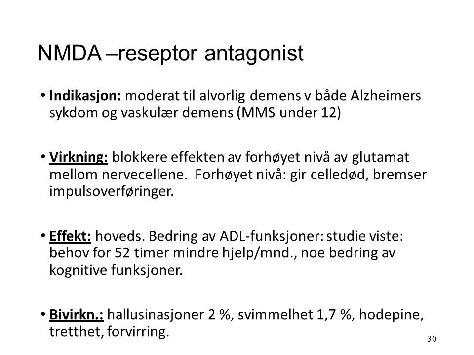 Ache-hemmere ved demenssykdommer Effekt: ser bedring av kognitive funksjoner, eller utsetter eller bremser utviklingen av sykdommen i 1-2 år hos 60 –