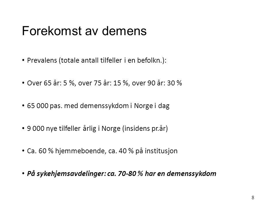 """Ulike demenssykdommer DEGENERATIV LIDELSE (noe som """"brytes ned"""") ALZHEIMER FRONTOTEMPORAL PARKINSON/HUNTINGTON LEWY-LEGEME VASCULÆRT (har med blodkar"""