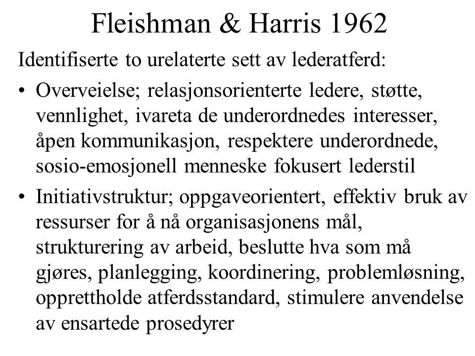 Fleishman & Harris 1962 Identifiserte to urelaterte sett av lederatferd: Overveielse; relasjonsorienterte ledere, støtte, vennlighet, ivareta de under