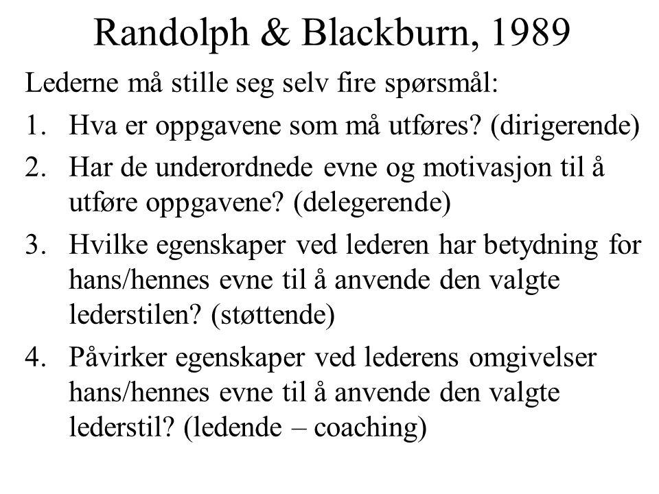 Randolph & Blackburn, 1989 Lederne må stille seg selv fire spørsmål: 1.Hva er oppgavene som må utføres? (dirigerende) 2.Har de underordnede evne og mo