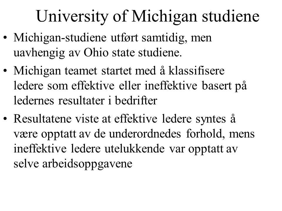 University of Michigan studiene Michigan-studiene utført samtidig, men uavhengig av Ohio state studiene. Michigan teamet startet med å klassifisere le