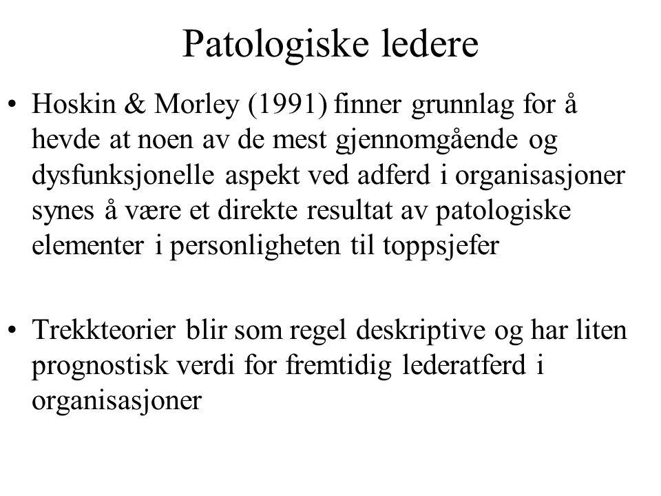 Patologiske ledere Hoskin & Morley (1991) finner grunnlag for å hevde at noen av de mest gjennomgående og dysfunksjonelle aspekt ved adferd i organisa