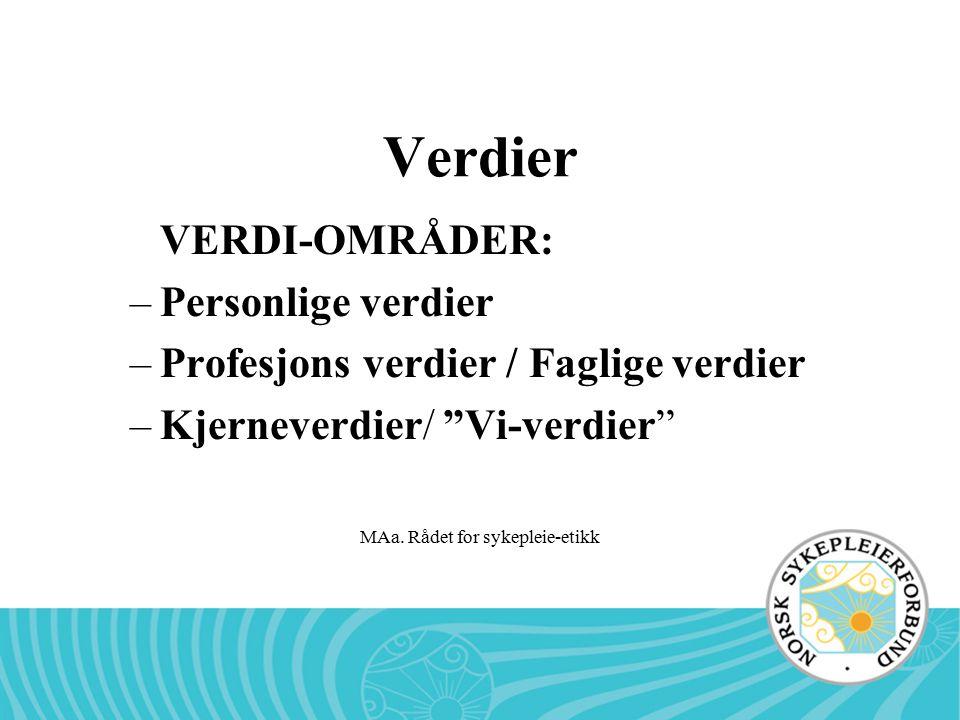 """MAa. Rådet for sykepleie-etikk Verdier VERDI-OMRÅDER: –Personlige verdier –Profesjons verdier / Faglige verdier –Kjerneverdier/ """"Vi-verdier"""""""