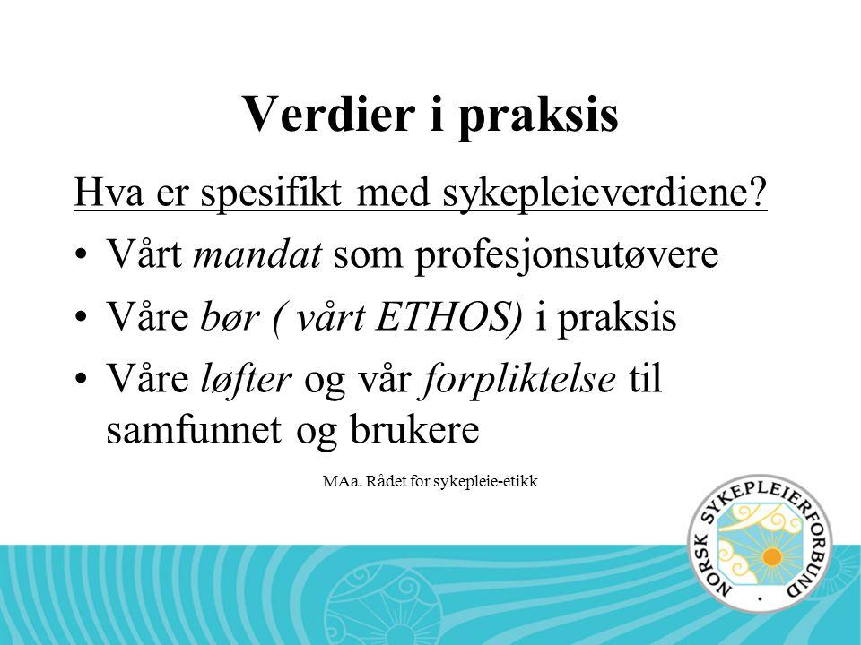 MAa. Rådet for sykepleie-etikk Verdier i praksis Hva er spesifikt med sykepleieverdiene? Vårt mandat som profesjonsutøvere Våre bør ( vårt ETHOS) i pr