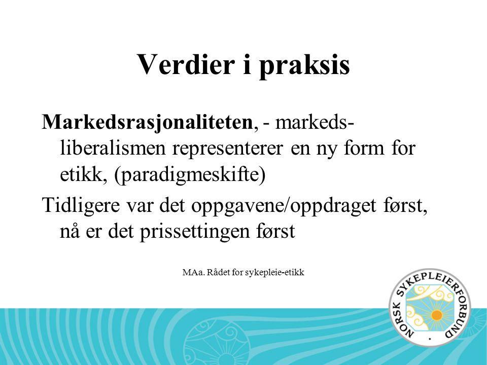 MAa. Rådet for sykepleie-etikk Verdier i praksis Markedsrasjonaliteten, - markeds- liberalismen representerer en ny form for etikk, (paradigmeskifte)