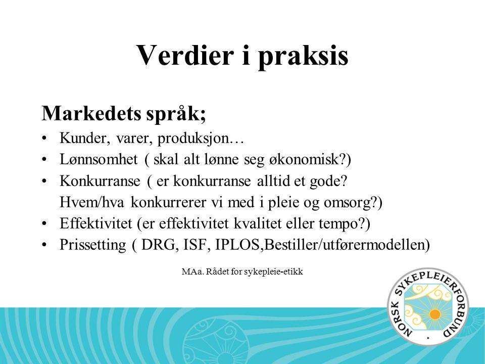 MAa. Rådet for sykepleie-etikk Verdier i praksis Markedets språk; Kunder, varer, produksjon… Lønnsomhet ( skal alt lønne seg økonomisk?) Konkurranse (