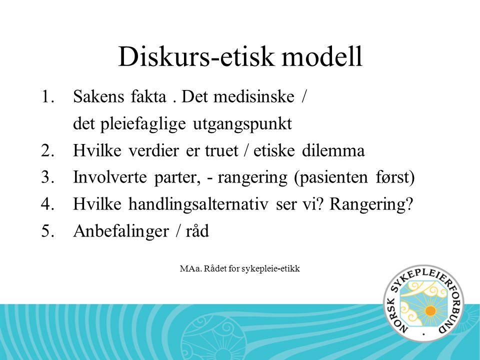 MAa. Rådet for sykepleie-etikk Diskurs-etisk modell 1.Sakens fakta. Det medisinske / det pleiefaglige utgangspunkt 2.Hvilke verdier er truet / etiske