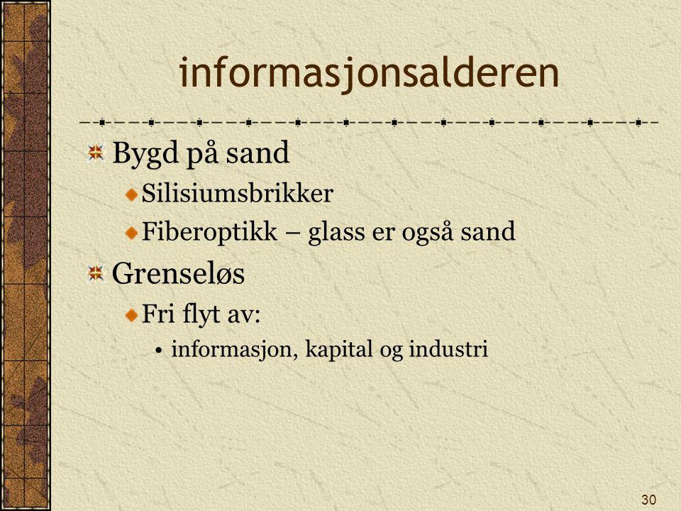 30 informasjonsalderen Bygd på sand Silisiumsbrikker Fiberoptikk – glass er også sand Grenseløs Fri flyt av: informasjon, kapital og industri