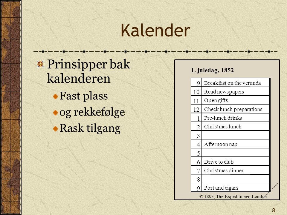 8 Kalender Prinsipper bak kalenderen Fast plass og rekkefølge Rask tilgang 9 10 11 12 1 2 3 4 5 6 7 8 9 1.