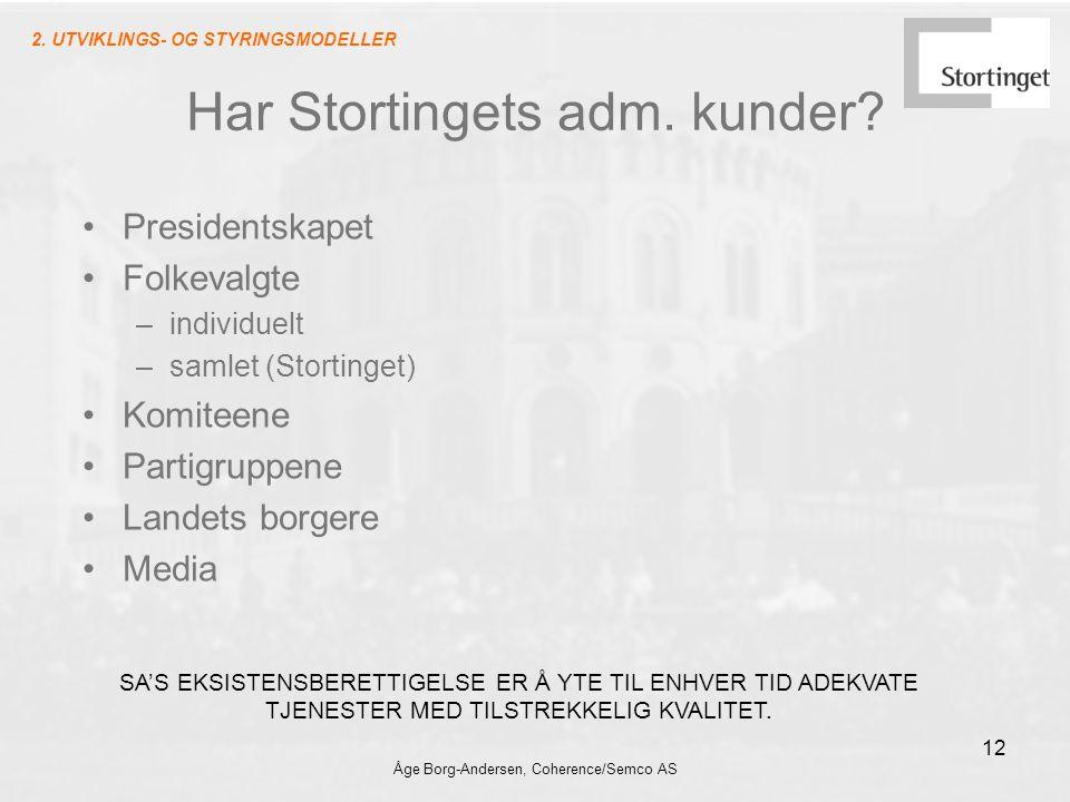 Åge Borg-Andersen, Coherence/Semco AS 12 Har Stortingets adm. kunder? Presidentskapet Folkevalgte –individuelt –samlet (Stortinget) Komiteene Partigru