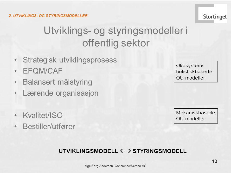 Åge Borg-Andersen, Coherence/Semco AS 13 Utviklings- og styringsmodeller i offentlig sektor Strategisk utviklingsprosess EFQM/CAF Balansert målstyring Lærende organisasjon Kvalitet/ISO Bestiller/utfører Økosystem/ holistiskbaserte OU-modeller Mekaniskbaserte OU-modeller UTVIKLINGSMODELL  STYRINGSMODELL 2.