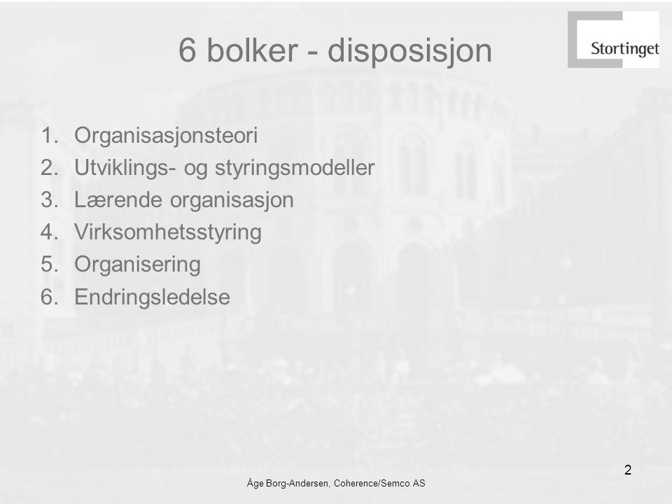 Åge Borg-Andersen, Coherence/Semco AS 2 6 bolker - disposisjon 1.Organisasjonsteori 2.Utviklings- og styringsmodeller 3.Lærende organisasjon 4.Virksomhetsstyring 5.Organisering 6.Endringsledelse