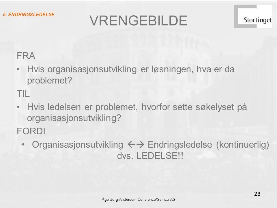 Åge Borg-Andersen, Coherence/Semco AS 28 VRENGEBILDE FRA Hvis organisasjonsutvikling er løsningen, hva er da problemet? TIL Hvis ledelsen er problemet