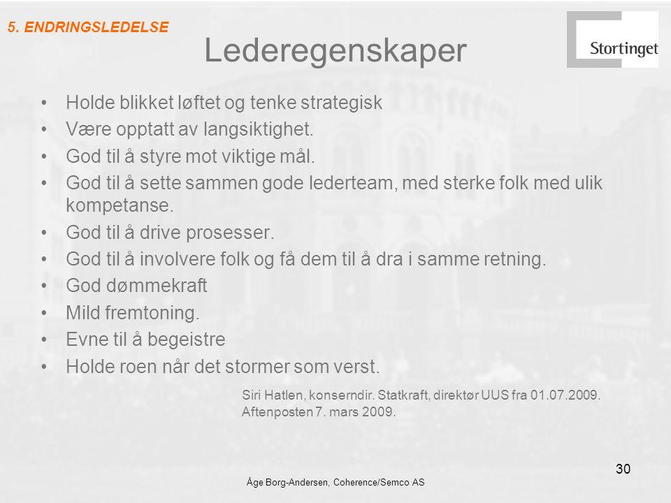 Åge Borg-Andersen, Coherence/Semco AS 30 Lederegenskaper Holde blikket løftet og tenke strategisk Være opptatt av langsiktighet. God til å styre mot v
