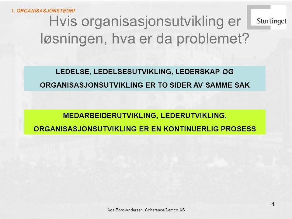 Åge Borg-Andersen, Coherence/Semco AS 4 Hvis organisasjonsutvikling er løsningen, hva er da problemet? LEDELSE, LEDELSESUTVIKLING, LEDERSKAP OG ORGANI
